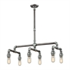 Cast Iron Pipe 6 Light Chandelier In Weathered Zinc