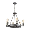 ELK lighting Nautical 6 Light Chandelier In Weathered Zinc And Polished Nickel
