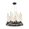 Glass Skyline 9 Light Chandelier In Oil Rubbed Bronze