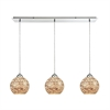 Crosshatch 3 Light Linear Pan Fixture In Polished Chrome With Crosshatch Mosaic Glass