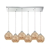 Crosshatch 6 Light Rectangle Fixture In Polished Chrome With Crosshatch Mosaic Glass