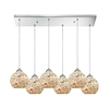 Crosshatch 6 Light Rectangle Fixture In Polished Chrome With Spatter Mosaic Glass