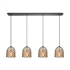 Brimley 4 Light Linear Pan Fixture In Oil Rubbed Bronze With Raised Diamond Texture Mercury Glass
