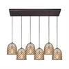 Brimley 6 Light Rectangle Fixture In Oil Rubbed Bronze With Raised Diamond Texture Mercury Glass