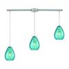 Lagoon 3 Light Linear Bar Fixture In Satin Nickel With Aqua Water Glass