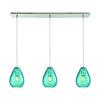 Lagoon 3 Light Linear Pan Fixture In Satin Nickel With Aqua Water Glass