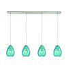 Lagoon 4 Light Linear Pan Fixture In Satin Nickel With Aqua Water Glass