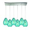 Lagoon 6 Light Rectangle Fixture In Satin Nickel With Aqua Water Glass