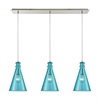 Parson 3 Light Linear Pan Fixture In Satin Nickel With Aqua Glass