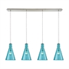 Parson 4 Light Linear Pan Fixture In Satin Nickel With Aqua Glass
