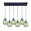 Lagoon 6 Light Rectangle Fixture In Oil Rubbed Bronze With Champagne Plated Water Glass