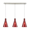 Parson 3 Light Linear Pan Fixture In Satin Nickel With Wine Red Glass