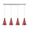 Parson 4 Light Linear Pan Fixture In Satin Nickel With Wine Red Glass