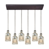 Giovanna 6 Light Rectangle Fixture In Oil Rubbed Bronze With Champagne Plated Decanter Glass