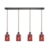 Giovanna 4 Light Linear Pan Fixture In Oil Rubbed Bronze With Wine Red Decanter Glass