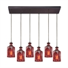 Giovanna 6 Light Rectangle Fixture In Oil Rubbed Bronze With Wine Red Decanter Glass