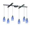 Milan 6 Light Pendant In Satin Nickel And Starburst Blue Glass