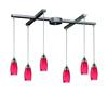 ELK lighting Milan 6 Light Pendant In Satin Nickel And Fire Red Glass