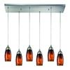 ELK lighting Milan 6 Light Pendant In Satin Nickel And Espresso Glass