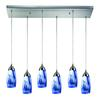 ELK lighting Milan 6 Light Pendant In Satin Nickel And Mountain Glass