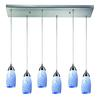 ELK lighting Milan 6 Light Pendant In Satin Nickel And Snow White Glass