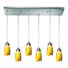 Milan 6 Light Pendant In Satin Nickel And Yellow Blaze Glass