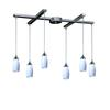 Milan 6 Light Pendant In Satin Nickel And Simply White Glass