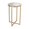 Cross Base Mirror Top Side Table