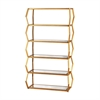 Anjelica Bookshelf In Gold Leaf And Clear Mirror