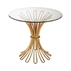 Flaired Rope Side Table In Gold Leaf And Clear Glass