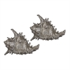 Sterling Set Of 2 Silver Leaf Whelk Shells