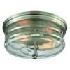 Port O' Connor 2 Light Flush In Satin Nickel With Seedy Glass