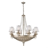 ELK lighting Renee 14 Light Chandelier In Aged Silver With Sheer White Fabric Shades
