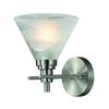 Pemberton 1 Light Vanity In Brushed Nickel And Marbelized White Glass
