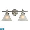ELK lighting Pemberton 1 Light LED Vanity In Brushed Nickel And Marbelized White Glass