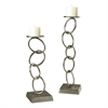 Set Of 2 Silver Leaf Chain Candle Holders