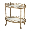 Curvilinear 2-Tier Tray Table In Antique Gold Leaf