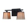 ELK lighting Serenity 2 Light Vanity In Oiled Bronze And Tan Glass