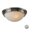 Flushmounts 2 Light Flushmount In Brushed Nickel And Opal White Glass - Includes Recessed Lighting Kit