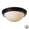 Flushmounts 2 Light Flushmount In Oiled Bronze And Opal White Glass - Includes Recessed Lighting Kit