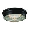 ELK lighting Flushmounts 3 Light Flushmount In Oiled Bronze And Clear Ribbed Glass