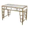 Sterling Mirror Top Desk With Bamboo Frame In Gold Leaf