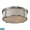 ELK lighting Flushmounts 3 Light LED Flushmount In Brushed Nickel And Opal White Glass