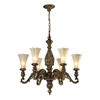 ELK lighting Allesandria 6 Light Chandelier In Burnt Bronze And Weathered Gold Leaf