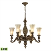 ELK lighting Allesandria 6 Light LED Chandelier In Burnt Bronze And Weathered Gold Leaf