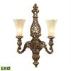 ELK lighting Allesandria 2 Light LED Sconce In Burnt Bronze In Weathered Gold Leaf