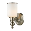 Bristol Way 1 Light Vanity In Brushed Nickel And Opal White Glass