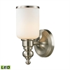 Bristol Way 1 Light LED Vanity In Brushed Nickel And Opal White Glass