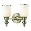 ELK lighting Bristol Way 2 Light Vanity In Brushed Nickel And Opal White Glass
