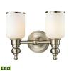 ELK lighting Bristol Way 2 Light LED Vanity In Brushed Nickel And Opal White Glass